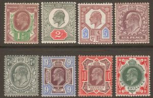 1911 Edward VII Somerset House Stamp Set of 8 Mounted Mint